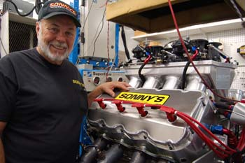 Sonny leonard shown here with one of his 892 inch chevrolet