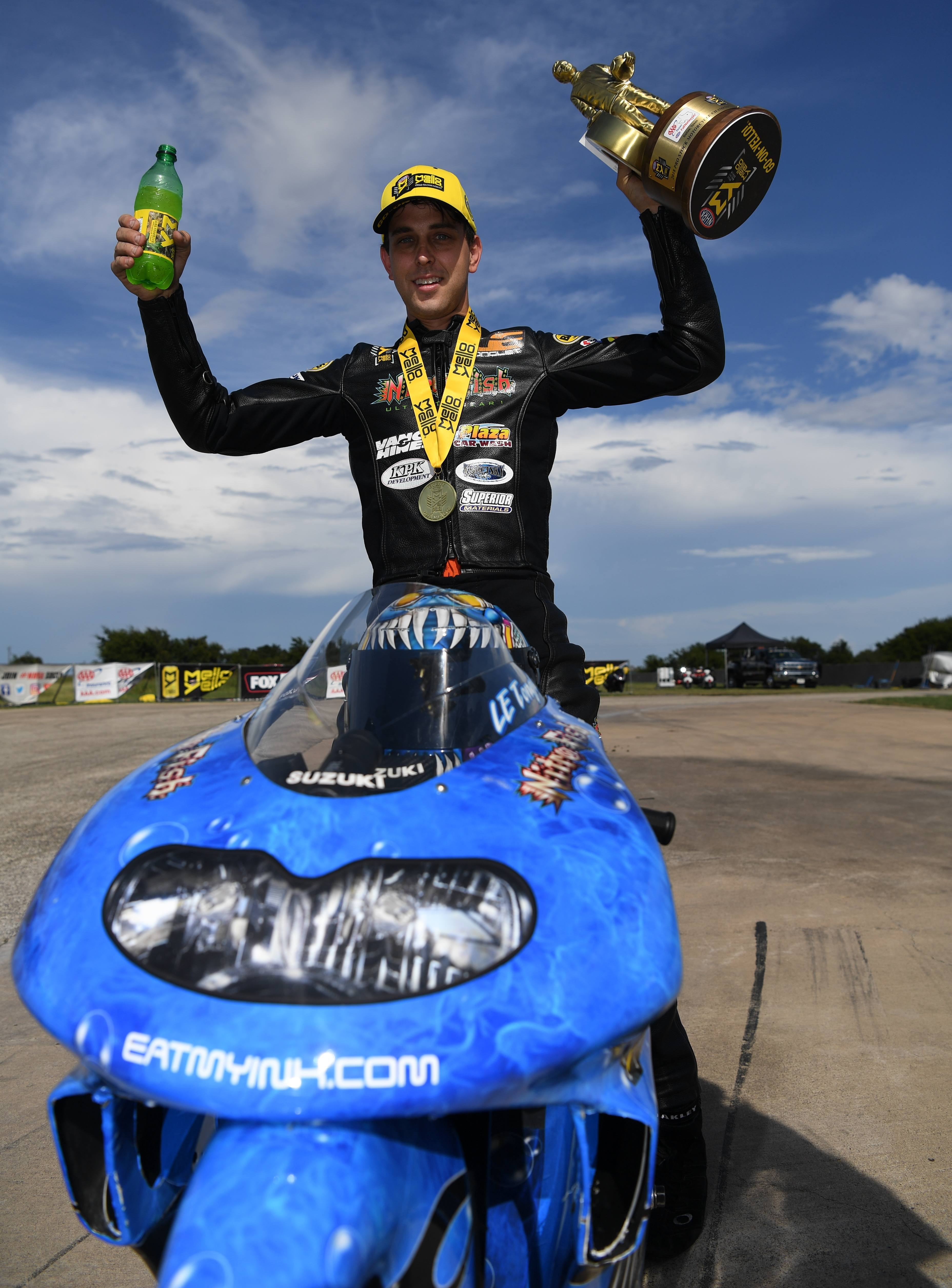 ... final round Sunday at the NHRA AAA Texas FallNationals near Dallas  wasn t any big issue for Nitro Fish Suzuki Pro Stock Motorcycle racer L.E.  Tonglet. 45d20817c8b